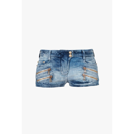 BALMAIN WOMEN WASHED COTTON DENIM MINI-SHORT Outlet Online