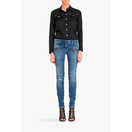 BALMAIN WOMEN DESTROYED STRETCH COTTON BIKER JEANS Outlet Online