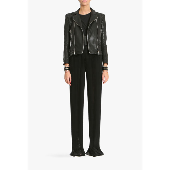 BALMAIN WOMEN SILK MOUSSELINE HIGH-WAISTED FLARED PANTS Outlet Online