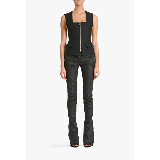 BALMAIN WOMEN LEATHER EFFECT STRETCH COTTON DENIM MID-RISE JEANS Outlet Online