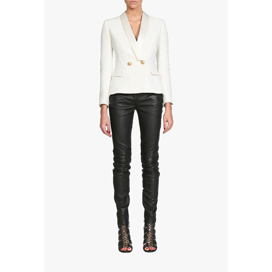 BALMAIN WOMEN DOUBLE-BREASTED CREPE AND VISCOSE BLAZER Outlet Online