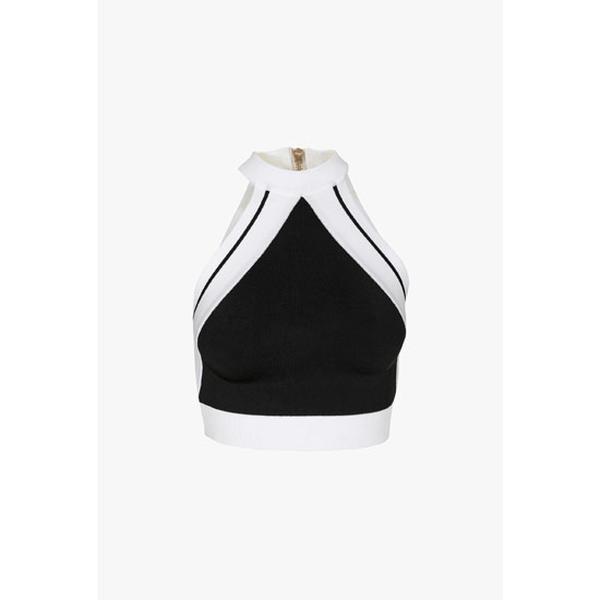 BALMAIN WOMEN STRETCH VISCOSE KNIT CROPPED TOP Outlet Online