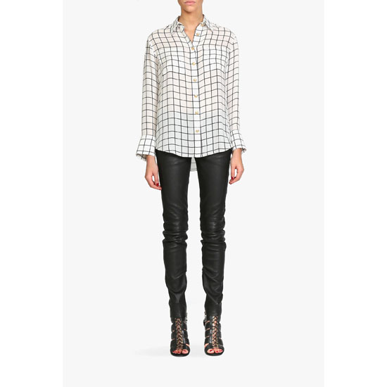 BALMAIN WOMEN CHECKED SILK BLOUSE Outlet Online
