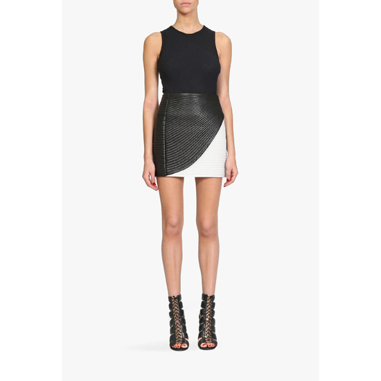 BALMAIN WOMEN TWO TONE RIBBED LEATHER MINI SKIRT Outlet Online