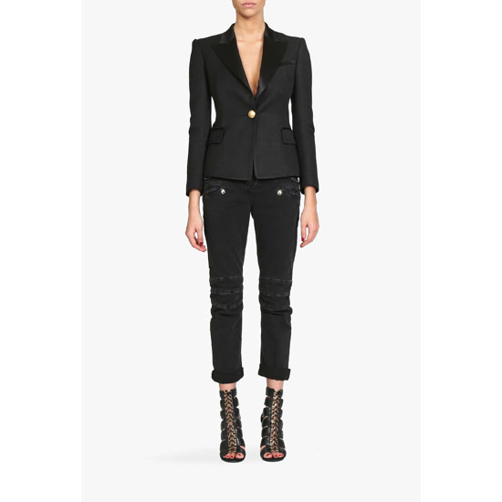 BALMAIN WOMEN JERSEY ONE BUTTON BLAZER Outlet Online