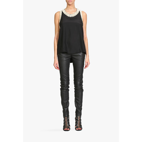 BALMAIN WOMEN BEADED SLEEVELESS SILK TOP Outlet Online