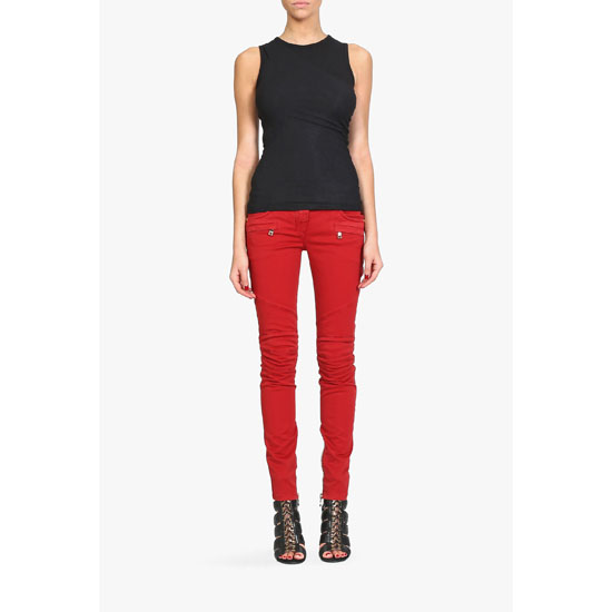 BALMAIN WOMEN OVERDYED STRETCH COTTON DENIM BIKER JEANS Outlet Online