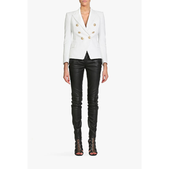 BALMAIN WOMEN DOUBLE-BREASTED COTTON BLAZER Outlet Online