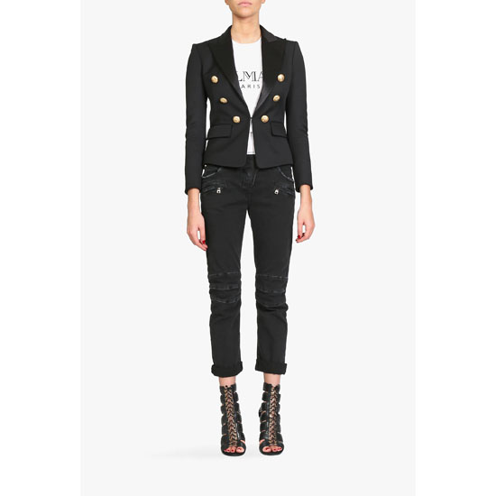 BALMAIN WOMEN WOOL BLAZER WITH GOLD BUTTONS Outlet Online
