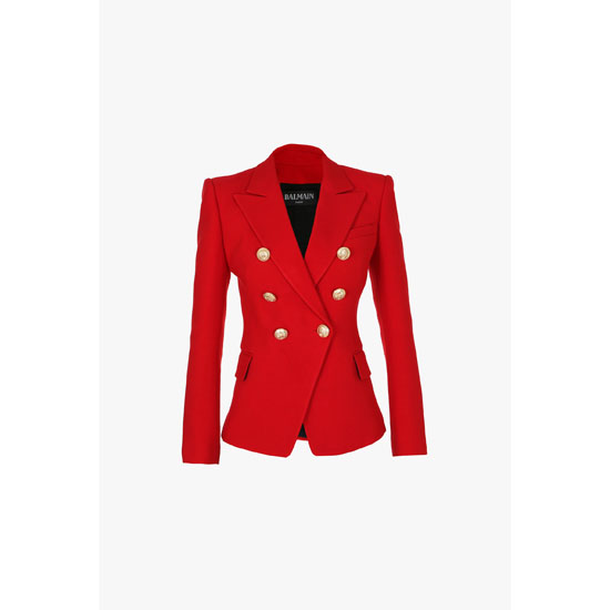 BALMAIN WOMEN DOUBLE-BREASTED VISCOSE AND SILK BLAZER Outlet Online