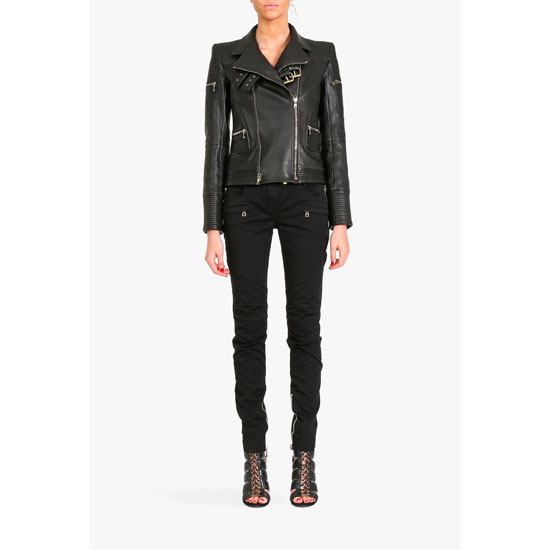 BALMAIN WOMEN RIBBED LEATHER BIKER JACKET Outlet Online