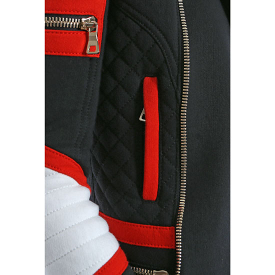 BALMAIN WOMEN CONTRASTED COTTON-FLEECE BIKER JACKET Outlet Online