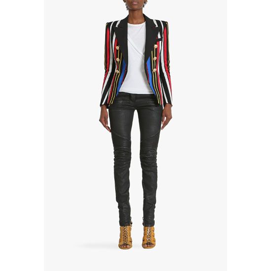 BALMAIN WOMEN MULTICOLOR DOUBLE-BREASTED COTTON BLAZER Outlet Online