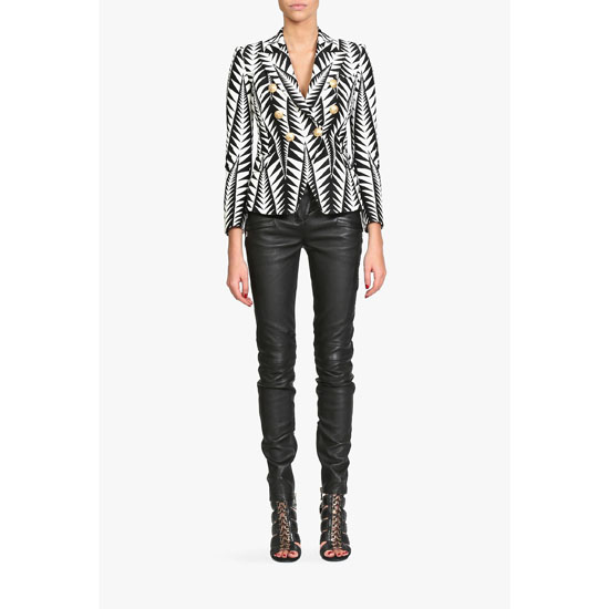 BALMAIN WOMEN COTTON-BLEND JACQUARD BLAZER Outlet Online