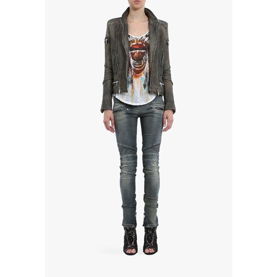 BALMAIN WOMEN TIE AND DYE LEATHER BIKER JACKET Outlet Online