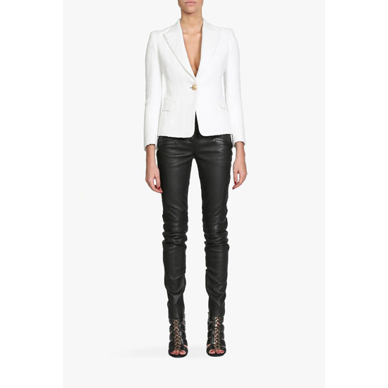BALMAIN WOMEN COTTON-BLEND ONE BUTTON BLAZER Outlet Online
