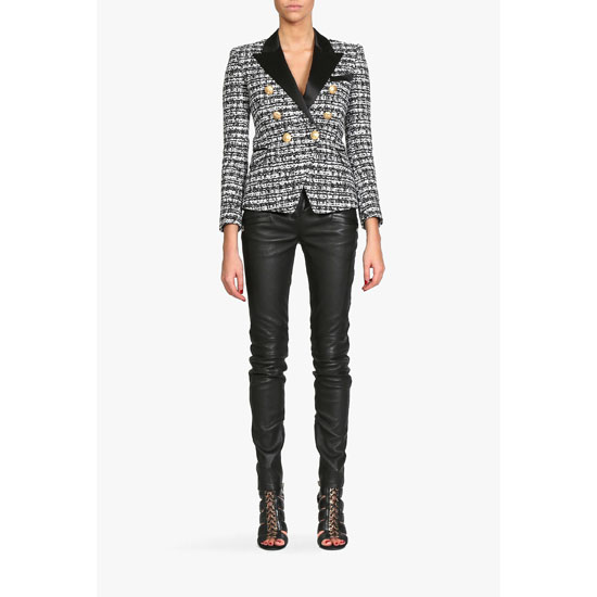 BALMAIN WOMEN DOUBLE-BREASTED TWEED BLAZER Outlet Online