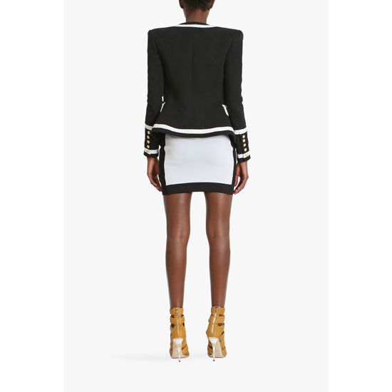BALMAIN WOMEN TWO TONE DOUBLE-BREASTED COTTON BLAZER Outlet Online