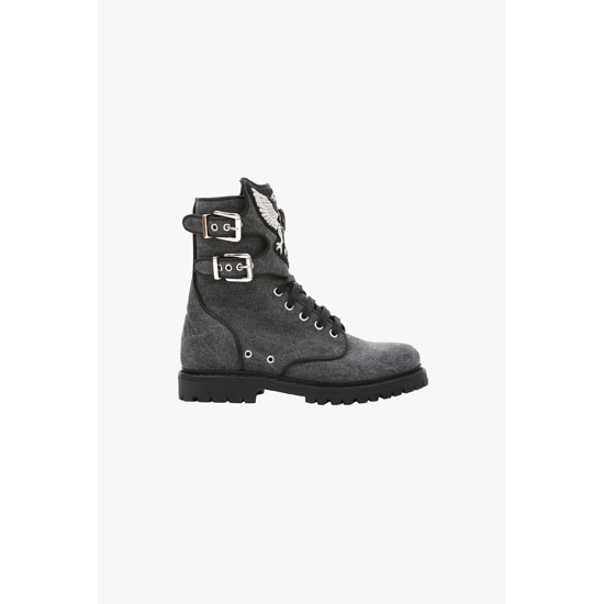 BALMAIN WOMEN EAGLE EMBROIDERED CANVAS RANGER BOOTS Outlet Online