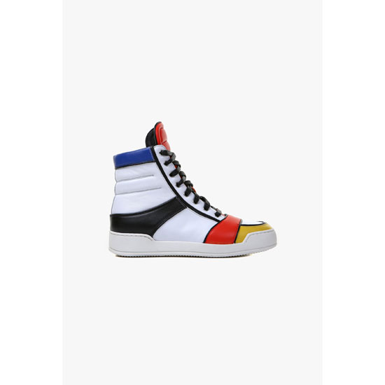 BALMAIN WOMEN COLOR BLOCK NASH LEATHER HIGH-TOP SNEAKERS Outlet Online