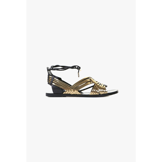 BALMAIN WOMEN MATTI FLAT LEATHER SANDALS Outlet Online