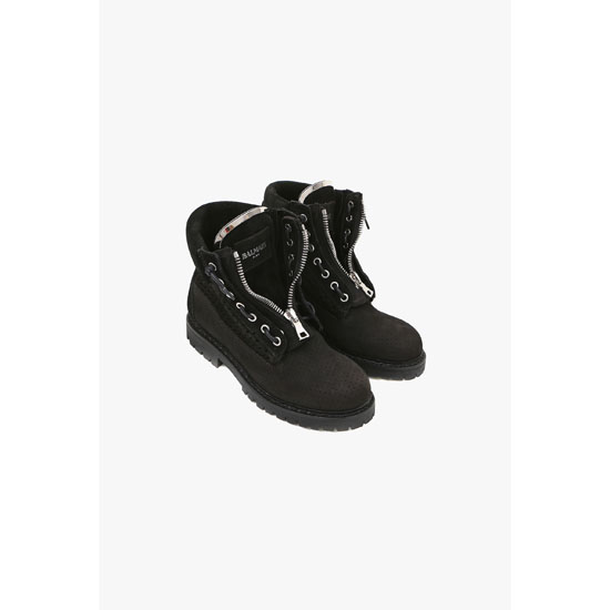 BALMAIN WOMEN TUNDRA PERFORATED SUEDE BOOTS Outlet Online