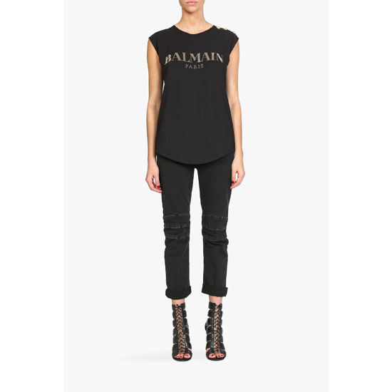 BALMAIN WOMEN CRYSTALS EMBELLISHED LOGO ON SLEEVELESS COTTON T-SHIRT Outlet Online