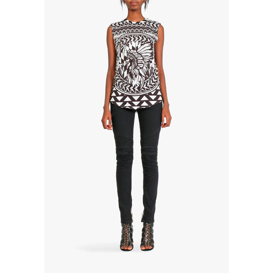 BALMAIN WOMEN BLACK & WHITE NATIVE AMERICAN PATTERNERD COTTON SLEEVELESS T-SHIRT Outlet Online