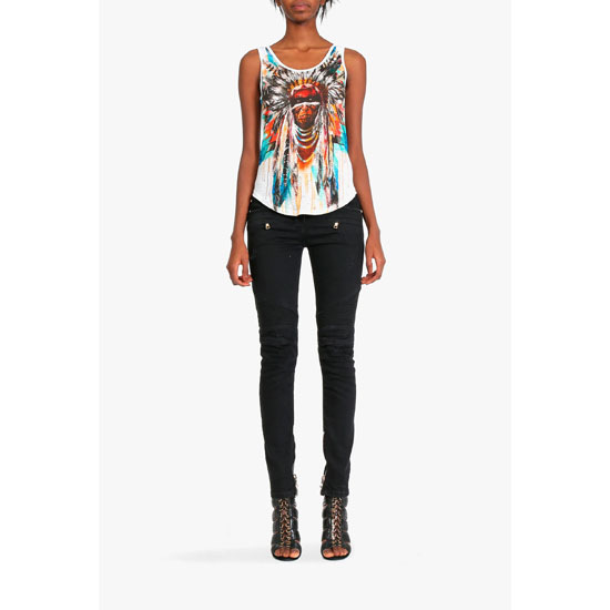 BALMAIN WOMEN INDIAN-PATTERNERD LINEN TANK-TOP Outlet Online
