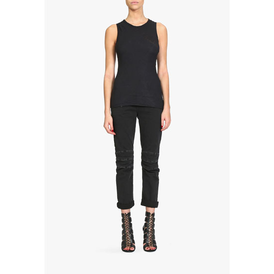 BALMAIN WOMEN WRAP-EFFECT COMBED COTTON TOP Outlet Online
