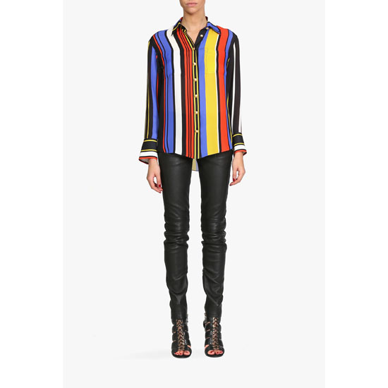 BALMAIN WOMEN MULTICOLOR SILK GEORGETTE BLOUSE Outlet Online