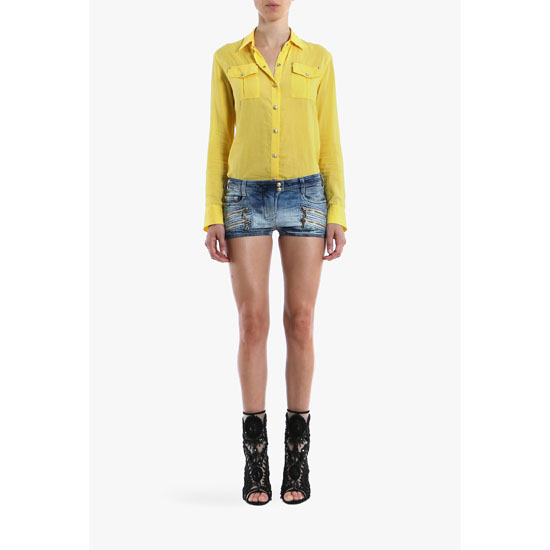 BALMAIN WOMEN PLAIN COTTON SHIRT Outlet Online