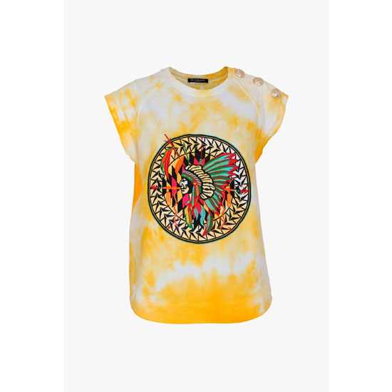 BALMAIN WOMEN INDIAN-PATTERNED TIE AND DYE COTTON TANK-TOP Outlet Online