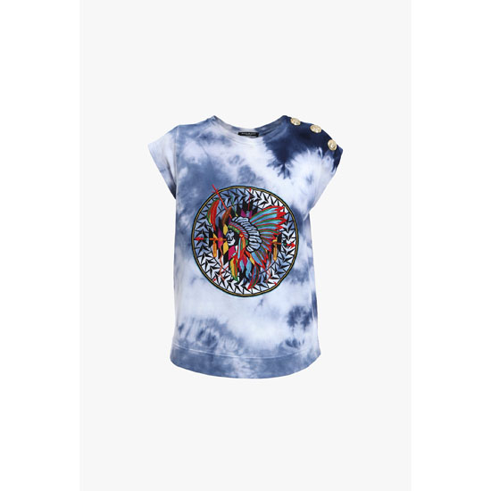 a4ef2683 BALMAIN WOMEN INDIAN-PATTERNED TIE AND DYE COTTON TANK-TOP Outlet Online