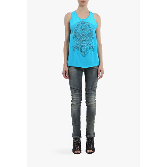 BALMAIN WOMEN EMBROIDERED CREPE SILK TOP Outlet Online