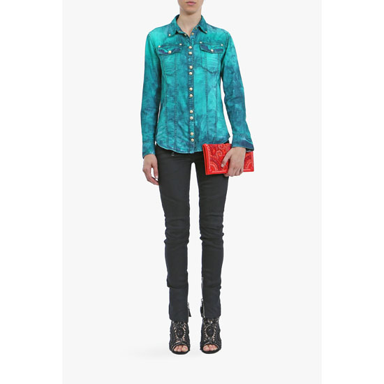 BALMAIN WOMEN TIE& DYE COTTON DENIM SHIRT Outlet Online