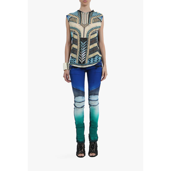 BALMAIN WOMEN BEADED-PATTERNED SLEEVELESS LINEN T-SHIRT Outlet Online