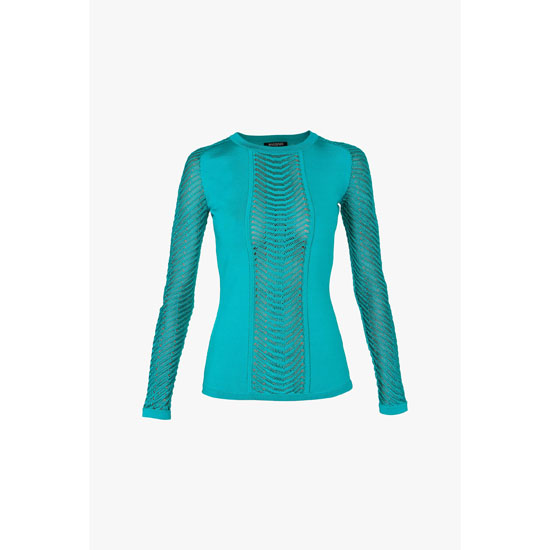BALMAIN WOMEN CREPE LONG-SLEEVED TOP WITH SHEER YOKE Outlet Online