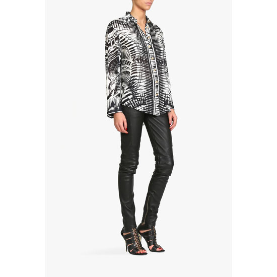 BALMAIN WOMEN TATOO PRINT SILK-GEORGETTE SHIRT Outlet Online