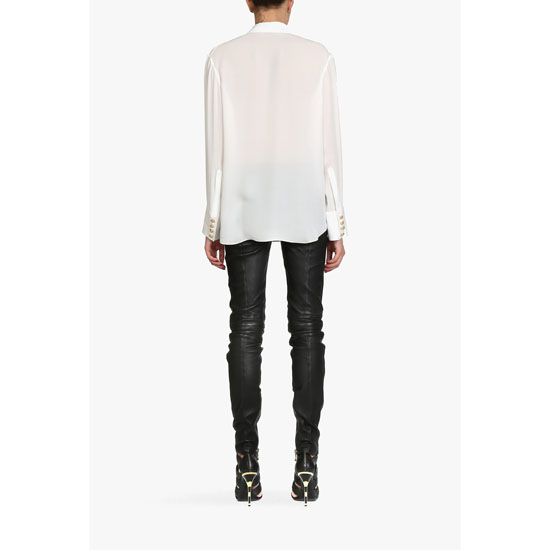 BALMAIN WOMEN FLUID SILK-GEORGETTE SHIRT Outlet Online