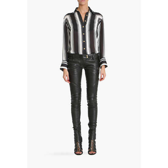 BALMAIN WOMEN PRINTED SILK GEORGETTE BLOUSE Outlet Online