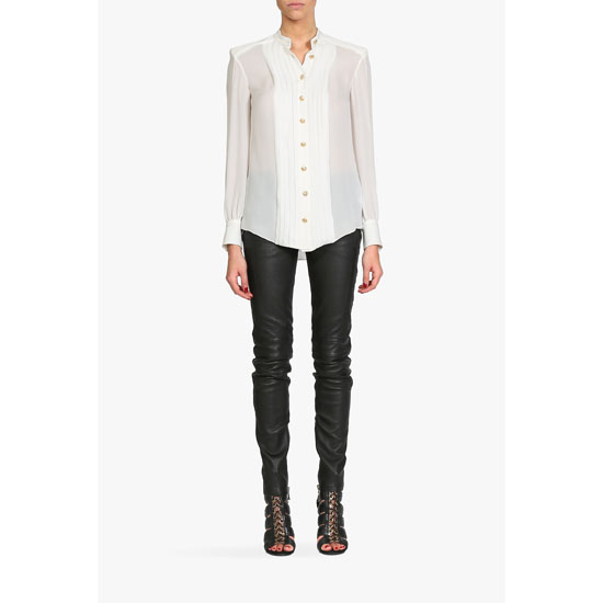 BALMAIN WOMEN SILK-GEORGETTE SHIRT Outlet Online