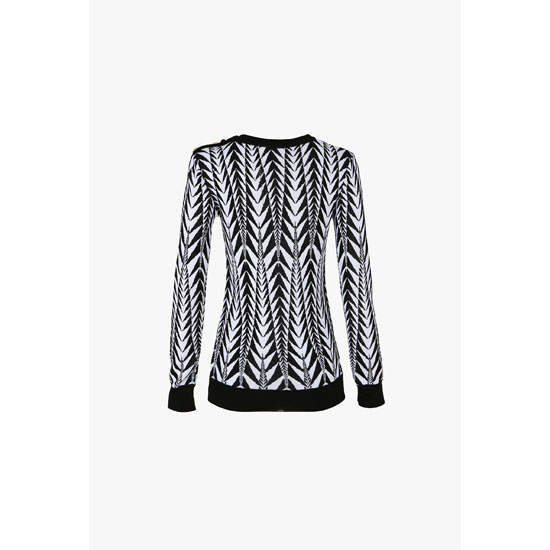 BALMAIN WOMEN PRINTED JACQUARD-JERSEY SWEATER Outlet Online