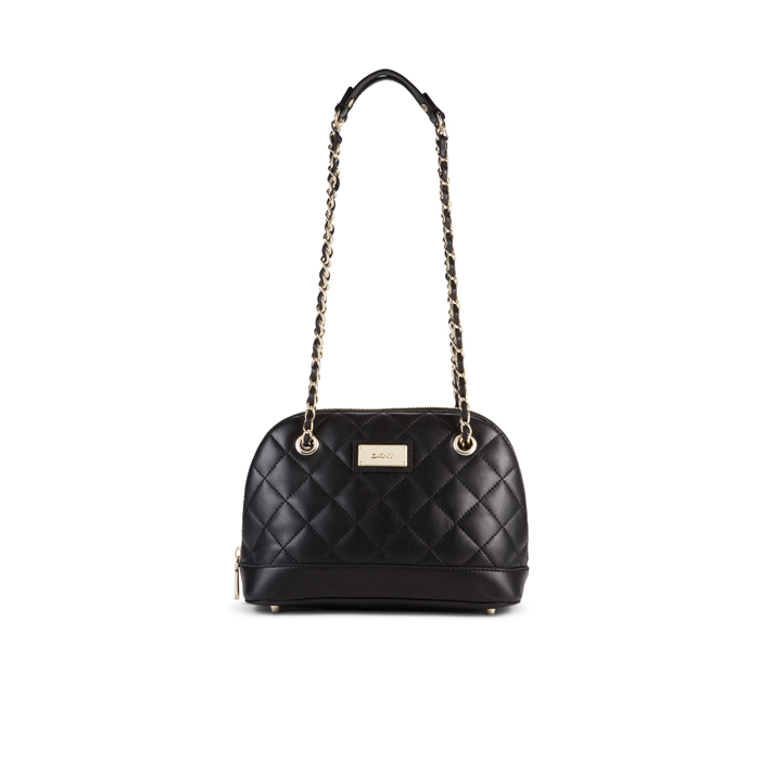 BLACK DKNY QUILTED LEATHER ROUNDED SATCHEL Outlet Online