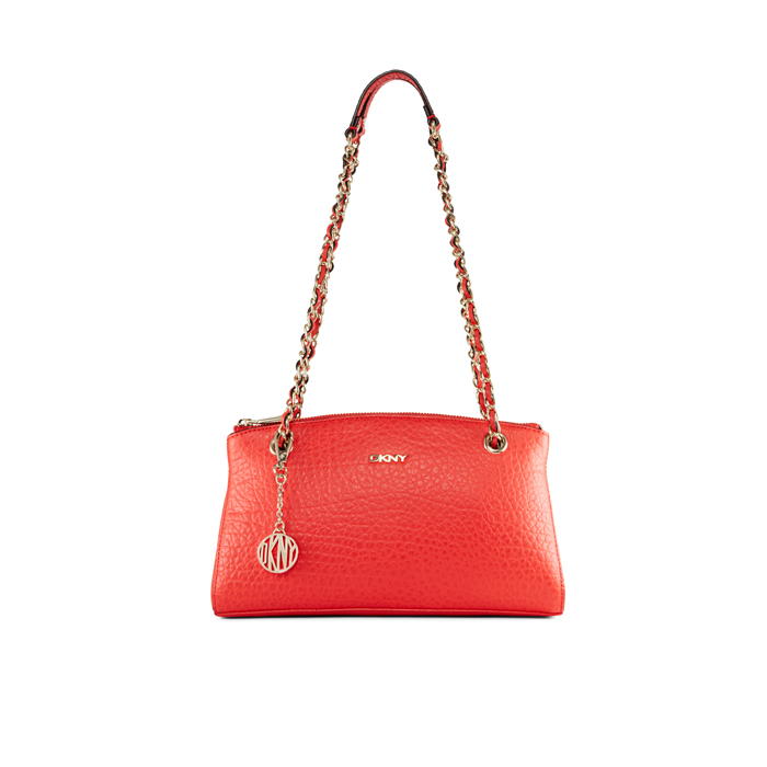 CORAL DKNY FRENCH GRAIN LEATHER CLUTCH Outlet Online