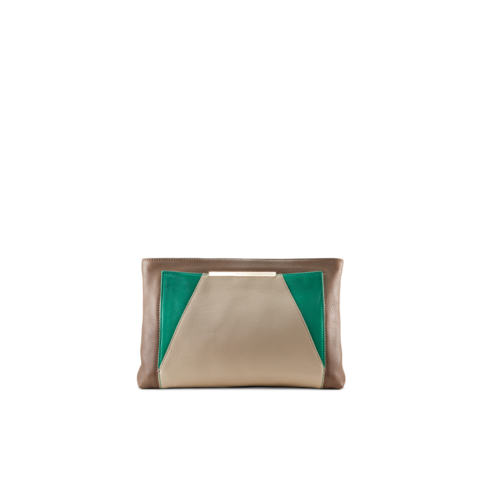 SND-GRN-DSRT DKNY CROSBY LEATHER TRI COLOR CLUTCH Outlet Online