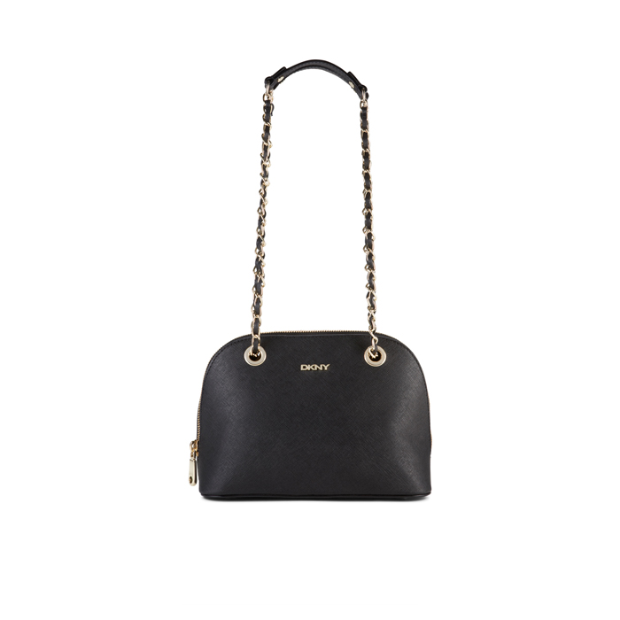 BLACK DKNY SAFFIANO LEATHER CHAIN SATCHEL Outlet Online