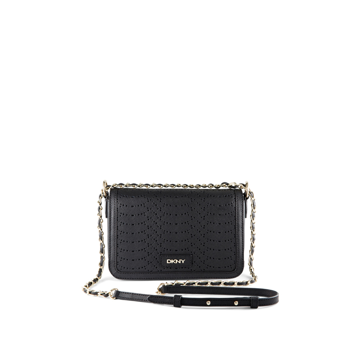 BLACK DKNY SAFFIANO PERFORATED LEATHER CROSSBODY Outlet Online