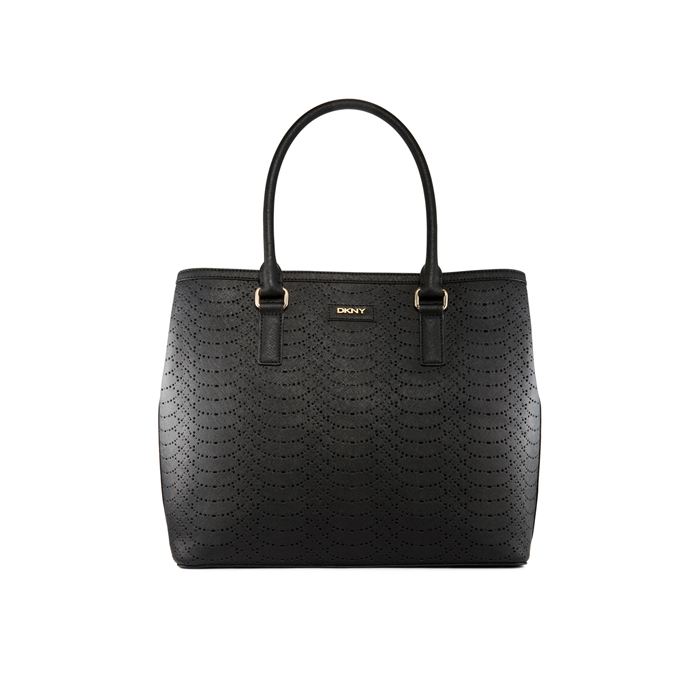 BLACK DKNY SAFFIANO PERFORATED LEATHER TOTE Outlet Online
