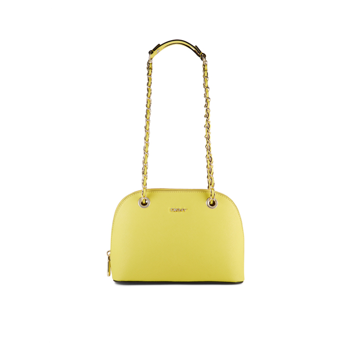 YELLOW DKNY SAFFIANO LEATHER CHAIN SATCHEL Outlet Online
